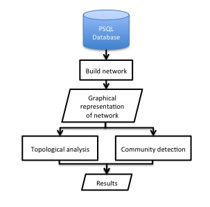 Building and analysing the networks from data found by the web spider in figure 9.