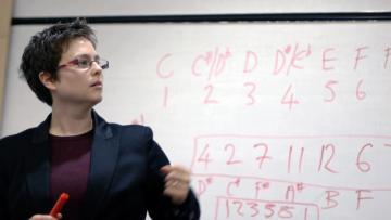 Emily Howard explaining 'numbers into notes'. Photograph by Angela Guyton.